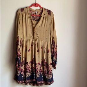 Free people boho print dress with matching slip M